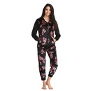 Floral Print Top & Pyjama Set with Hood - Black