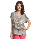 Funky Printed Top In Sand Brown