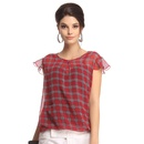 Georgette Checkered Top In Red
