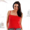 Lace Neck Thermal Cami In Red