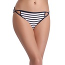 Low Waist Striped Bikini Panty with Side Strings