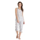 Printed Sleeveless Top & Capri Nightwear Set - White