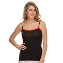 Soft Cotton Lacy Camisole In Black