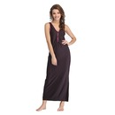 Plunge Neck Solid Nighty With Side Slit - black