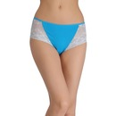 Cotton High-Waist Hipster with Lacy Side Wings - Blue