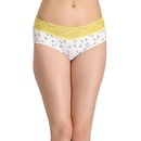 Cotton Mid Waist Floral Print Bikini Panty with Lace Waistband