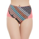 Geometric Print High Waist Hipster with Lace Wings
