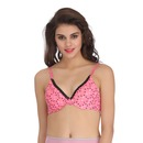 Push Up Demi Cup Printed T-Shirt Bra With Detachable Straps - Pink