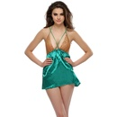 Satin Babydoll In Green With Lace