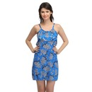 Satin Printed String Back babydoll - Blue