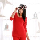 Scoop Neck Thermal Top In Red