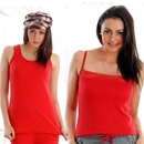 Set of 2-Cozy Thermal Tank Top And Cami In Red