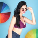 Cotton Rich Non-padded Wirefree T-shirt Bra In Purple