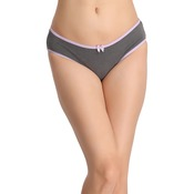 Cotton Mid-Waist Bikini With Bow at Centre - Grey