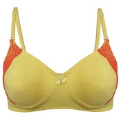 Cotton Non padded Wirefree Lacy Full Cup Bra - Yellow