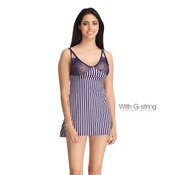 Lacy Cup Striped Babydoll with Thong
