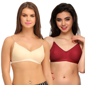 Pack Of 2 Cotton Backless Multiway Bra - Multicolor