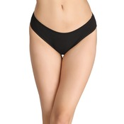 Cotton Low-Waist Bikini with Trimmed Elastic - Black