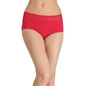 Cotton High-Waist Hipster with Powernet at Waist - Red