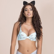 Underwired Cat Print Laser Cut T-shirt Bra with Multiway Straps