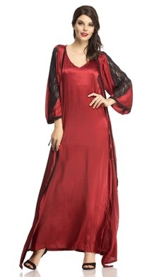 Satin Nightwear Set Of Long Nighty & Robe In Maroon