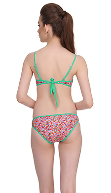 2 Pc Polyamide Swimsuit of Balconette Bra & V-Shaped Bikini In Light Green