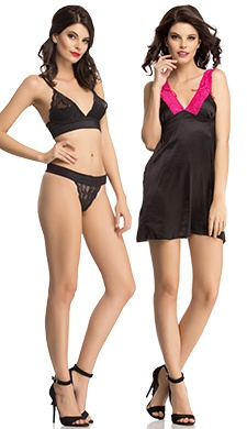 3 Pc Set Of Bra, Brief & Night Slip In Black