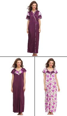 3 Pcs Satin Nightwear In Purple
