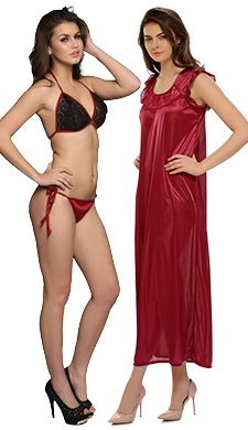 3 Pcs Set Of Bra, Panty And Night Slip In Maroon