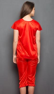 4 Pcs Satin Nightwear In Red - Robe, Nightie, Top, Capri
