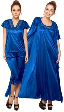 4 Pcs Satin Nightwear In Blue