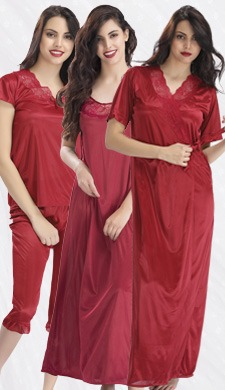4-Piece Satin Nightwear In Maroon
