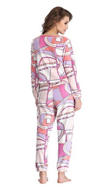 Abstract Print Full Length Top & Pyjama Set - White