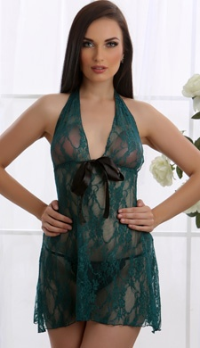 All Over Lace Nightwear In Aqua