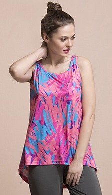 Printed High-Low Activewear Top