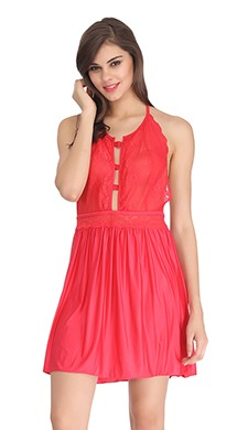 Backless Lacy Babydoll With Halter Neck - Red