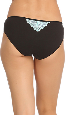 Black Cotton Spandex Bikini With Aqua Lace In Front & Back