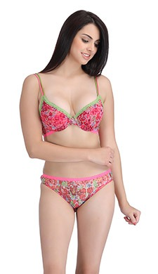 Printed Push-Up Bra & Panty Set