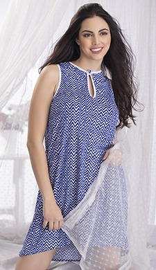 Chevron Print Short Nightie With Keyhole Neck