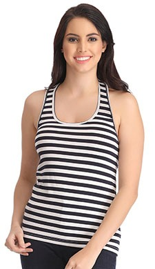 Stretchable Cotton Striped Tank Top - 52244