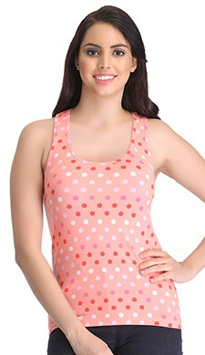 Stretchable Cotton Polka Print Tank Top