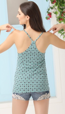 Printed Camisole with Stylised Back