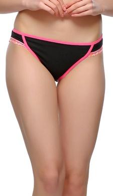 Cotton, Lace & Spandex Bikini In Pink