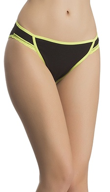 Cotton, Lace & Spandex Bikini In Fluorescent Green