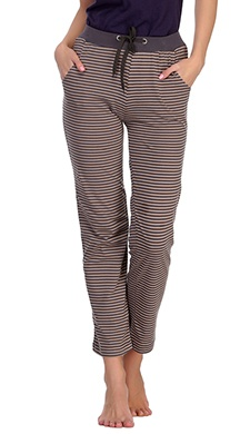 Cotton Striped Pyjama With Solid Waist Band - Beige