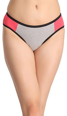 Contrast Mid-Waist Bikini With Contrast Side Wings - Grey