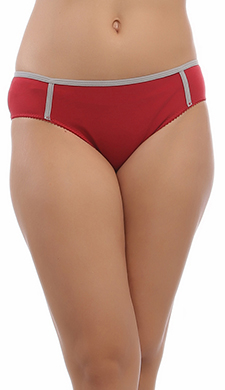 Cotton Bikini In Maroon With Mid Waist Coverage