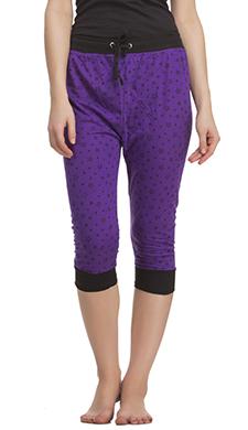 Cotton Capri In Purple