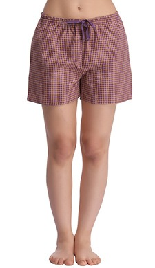 Cotton Checked Shorts - 55139
