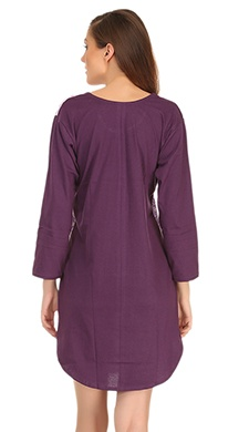Cotton Comfy Nightdress In Dark Purple